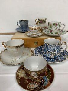 Lot of 7 Vintage Tea Cup  and Saucer sets Fine Bone Chine Lefton/Japan / Ardalt