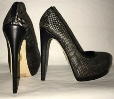 "Madonna ""Truth or Dare"" women's size 6 med black leather stiletto platform party"