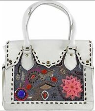 Anthropologie Vintage Addiction One Of A Kind White Leather&Beads XL Satchel