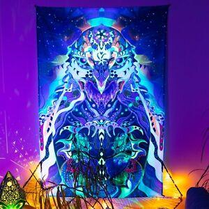 Forest Animal Napestry, UV Hippie Decoration, Unique Gift, Fluorescent Art
