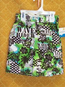Hawaiian SWIM SUIT Boys SMALL 4 Trunks GREEN Wave Rider Board Shorts Beach NWT
