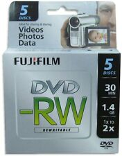 5-Pak FujiFilm 8cm Mini DVD-RW 1.4GB 30-Min in Mini Jewel Cases fits Sony/Canon