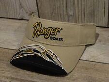New ListingRanger Boats Black Gold Tan Fishing Sun Visor Hat Cap Rb2821 Nwt