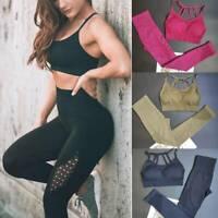 Womens 2Pcs Yoga Suit Seamless Gym Pants Leggings+Top Bra Sports Gym Yoga Set