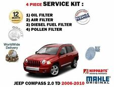 Per Jeep Compass 2.0 DT 2006-12/2010 Servizio Olio Aria Carburante Polline (4) filtro Kit