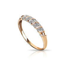 14ct Yellow Gold Swirl Band Ring Decorated with Diamonds