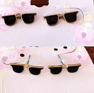 Black Sunglasses Kids Girls Boys Women Men Stud Earrings