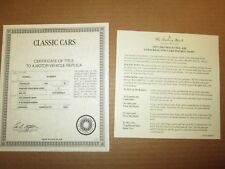 Danbury Mint Paperwork 1955 Chevy Bel Air Convertible