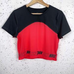Nike Pro Women's Size L Short Sleeve Crop Top Ember Glow Black Slim Fit Logo