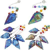 Titanium Crystal Pendulum Healing Dowsing Divination Reiki Chakra 7 Beads Chain
