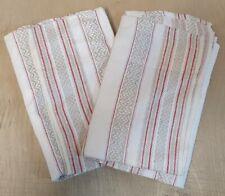 2 schöne alte Leinen Handtücher Rauten Grätenmuster rote Streifen 0,42m x 0,93m