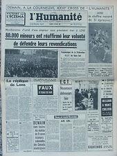 L'Humanité - (30 mars 1963) 80 000 mineurs à Lens - Claude Serre - F. Monod