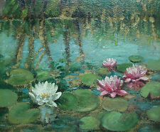 Impressionist Waterlilies Painting on Panel - Unsigned - Unframed - Mid 20th C.