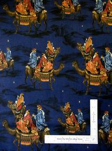 Christmas Three Wisemen Religious Nativity Dk Blue Cotton Fabric VIP By The Yard