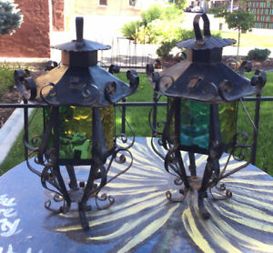 2 - Vintage Outdoor Light Fixture Textured Stained Glass Old Slag Colors - HTF