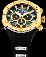 Invicta Men Bolt Chronograph Abalone DiaI Gold Tone Bezel Black Strap 52mm Watch