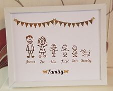 Personalised Family Tree Button Stick Family Framed Gift Handmade Wedding Gold