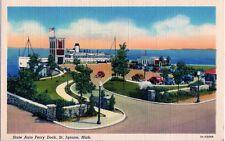 LINEN State Auto Ferry Dock ST. IGNACE, MICHIGAN Vintage Roadside Postcard TEICH