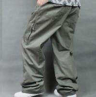 Casual Men Loose Fit Baggy Trousers Overalls High Elastic Waist Cotton Plus Size
