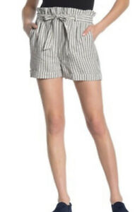 FRAME Women's Size Small S Tie Shorts Striped Paper Bag Belted Linen Blend $235