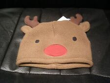 UNISEX NOVELTY KNITTED CHRISTMAS REINDEER RUDOLPH BEANIE HAT 0-3 MONTHS - NEW
