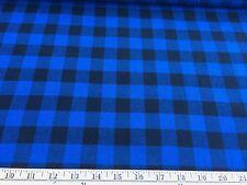"Black/Royal Buffalo Plaid Cotton Flannel Fabric 58"" Wide By The Yard"