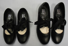 Roch Valley Girls Adults Childrens Kids Dance PU Tap Shoes  Black Low Heel  5-8L