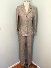 Kasper 8 100% Linen gray Pants Suit Excellent career Suiting *