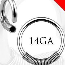 316L SURGICAL STEEL CAPTIVE RING WITH STEEL SPRING PAIR  USA Seller
