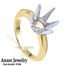 Six-Prong Knife Edge Ring Mounting in 14K Solid White & Yellow Gold 4 to 9.5