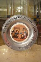Vintage Pewter The Great American Revolution Collectors Plate/ American Art