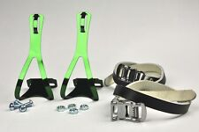 BRAND NEW BIKE PEDAL COLOR STEEL TOE CLIPS & LEATHER STRAPS SET- GREEN
