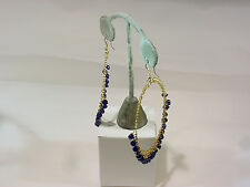 Dangling Blue Beads #E57980-1 #82-A/9 Gold Hoop Hanging Earring With