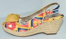 SOFFT Yellow Blue Red Espadrille Wedge Slingback Sandals Sz 6 M VGC ~GORGEOUS~