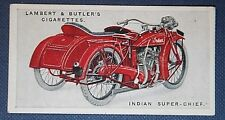 INDIAN SUPER-CHIEF  Motorcycle Sidecar Outfit     Original 1923 Colour Card