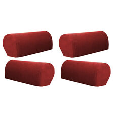 4Pcs Stretch Sofa Armrest Covers Protector Home Armchair Slipcovers Red