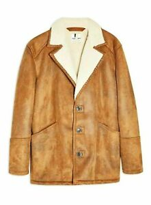 Topman Mens Faux Sherling Tan Brown Jacket Gents Coat