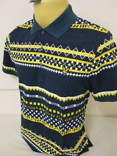 "LYLE & SCOTT VINTAGE MENS ALL OVER PRINT SCOTTS GREEN POLO M NEW 40"" CHEST"