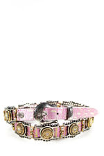 Nanni Womens Metal Embellished Jewel Leather Belt Pink Size 30