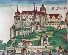Doppelseitige Stadtansicht WÜRZBURG Schedel Weltchronik 1493, reduziert!!