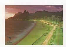Brazil Rio De Janeiro Vista Noturna Ipanema e Lablon Postcard 774a