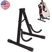 US Folding A-Shaped Electric Guitar Stand Concert Floor Rack Holder Metal Black