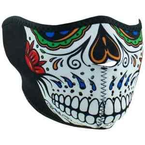 Zan Headgear Street Motorcycle Riders Half Face Neoprene Masks - Muerte Skull