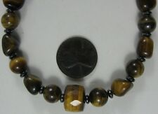 Vintage Tiger Eye Stone Necklace Sterling Clasp 17""