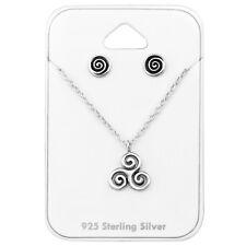 925 Sterling Silver Swirl Pendant Necklace & Stud Earrings Gift Set
