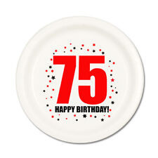 75th BIRTHDAY DESSERT PLATES 8/pk Small Lunch Plate Birthday Party Supplies T75