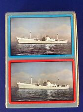 Vtg Cosmopolitan Line Ship Boat Double Deck Velvet Box Playing Cards Norway NY