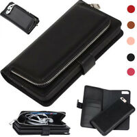 Removable Leather Cover Zipper Wallet Card Flip Case For Samsung Galaxy S5 S6 S7