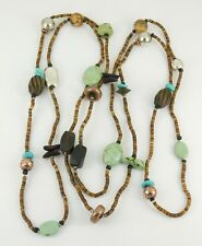 "Silpada Sterling Silver Howlite Jasper Wood Shell Necklace 60"" Long N1569"