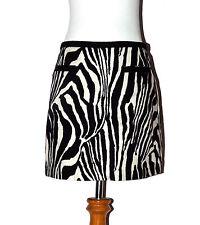H&M Sz 6 Black & White Zebra Print Cotton Expose Zipper A-Line Mini Skirt NWT!
